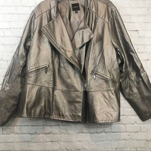 Lane Bryant metallic faux leather jacket sz 26/28